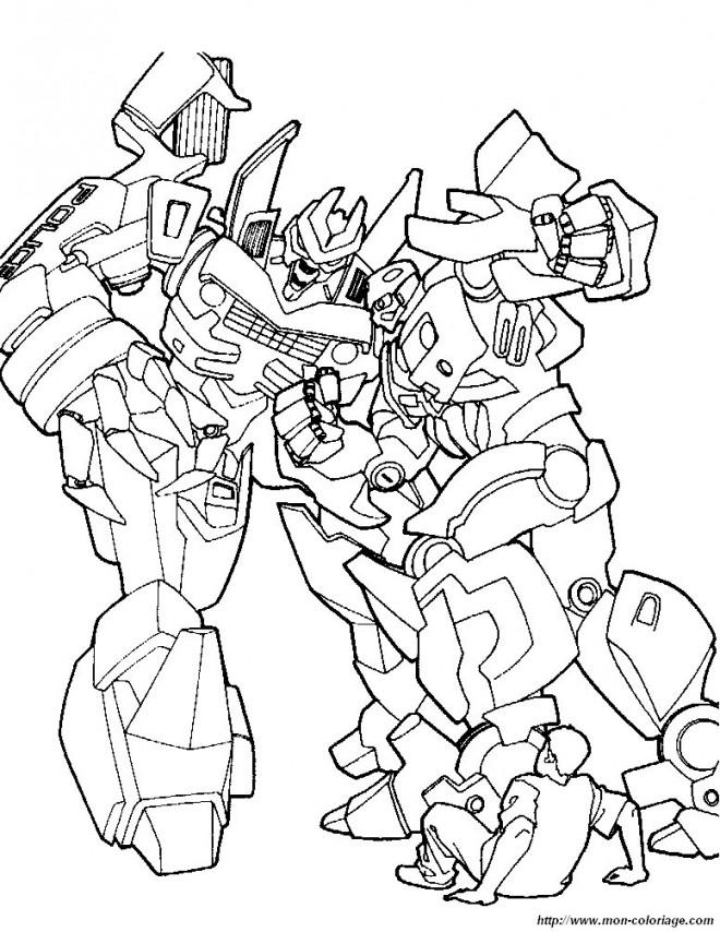 Coloriage et dessins gratuits Transformers combattants à imprimer