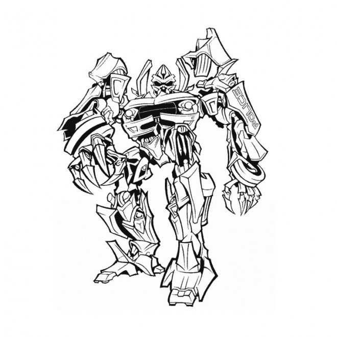 Coloriage transformers en noir et blanc dessin gratuit imprimer - Dessin de transformers ...