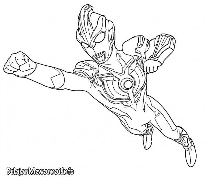Coloriage et dessins gratuits Ultraman en volant à imprimer