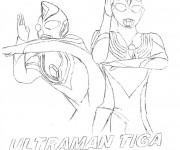Coloriage Ultraman Tiga et Dyna