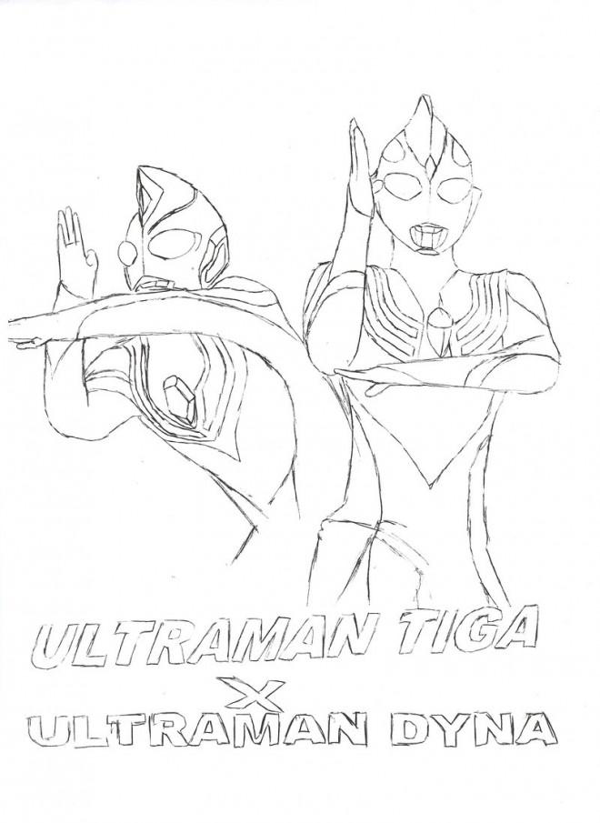 Coloriage et dessins gratuits Ultraman Tiga et Dyna à imprimer