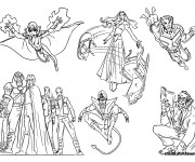 Coloriage Les Héros de X-Men stylisé