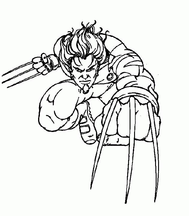 Coloriage Wolverine Avec Ses Armes Aux Mains Dessin Gratuit A Imprimer