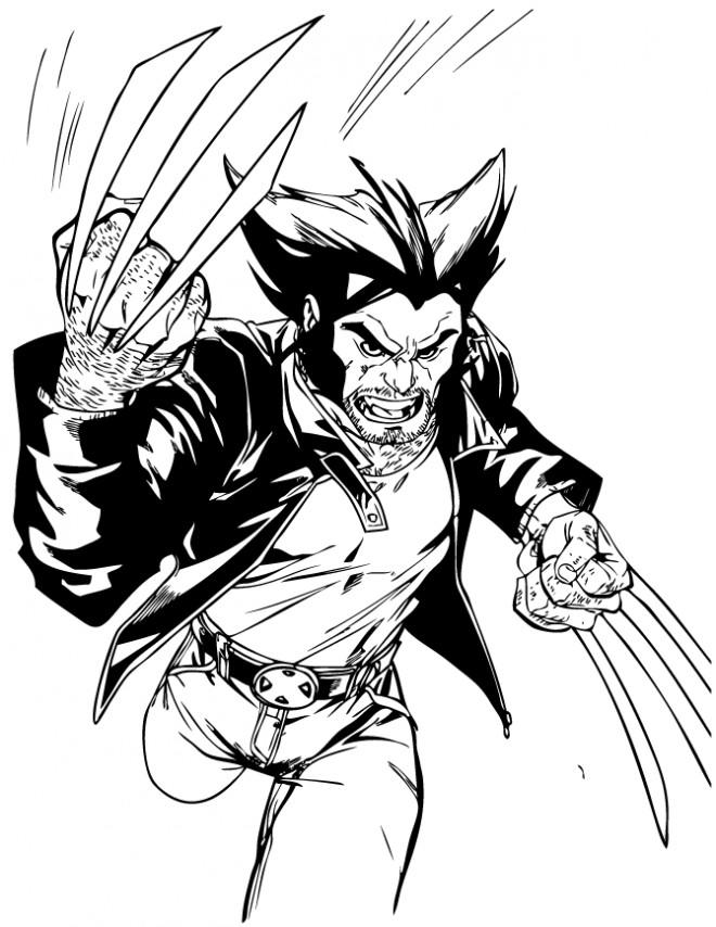 Coloriage et dessins gratuits X-Men Wolverine courageux à imprimer