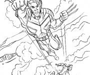 Coloriage et dessins gratuit X-Men Wolverine en attaquant à imprimer