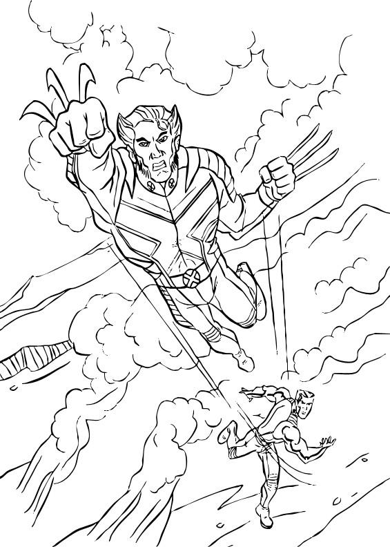 Coloriage et dessins gratuits X-Men Wolverine en attaquant à imprimer