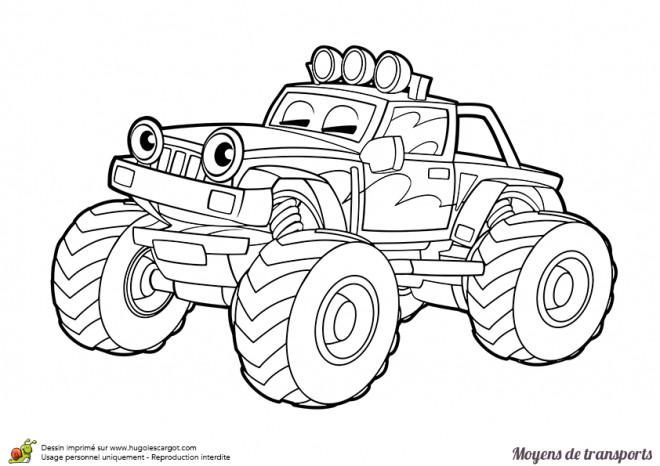 Coloriage et dessins gratuits 4 X 4 de course avec des yeux à imprimer
