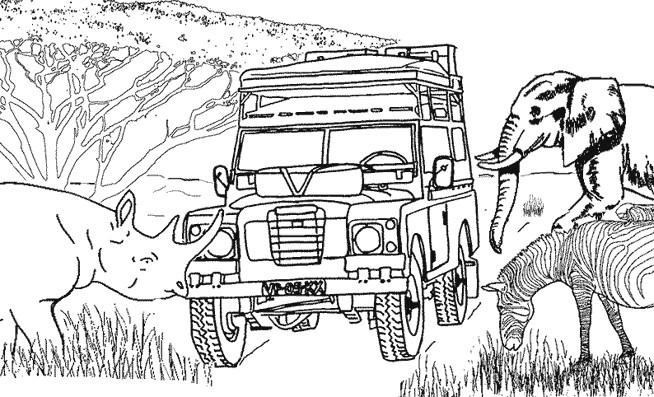 Coloriage et dessins gratuits 4 X 4 en Afrique à imprimer