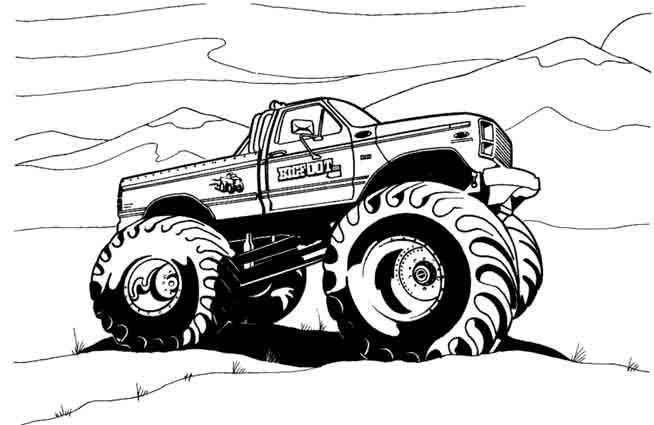 Coloriage et dessins gratuits 4 X 4 en noir et blanc à imprimer