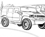 Coloriage et dessins gratuit Voiture 4 X 4 Hummer à imprimer