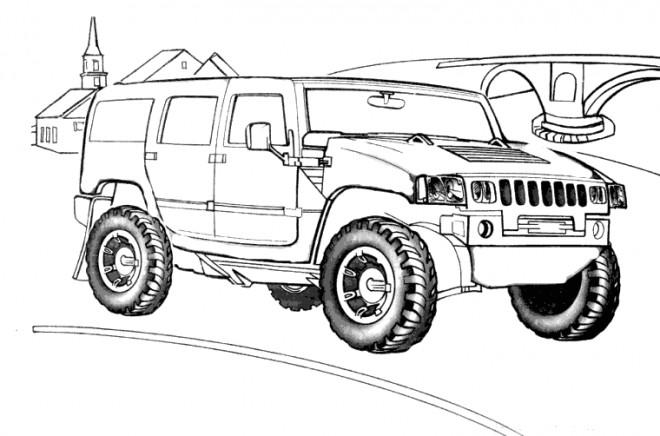Coloriage et dessins gratuits Voiture 4 X 4 Hummer à imprimer