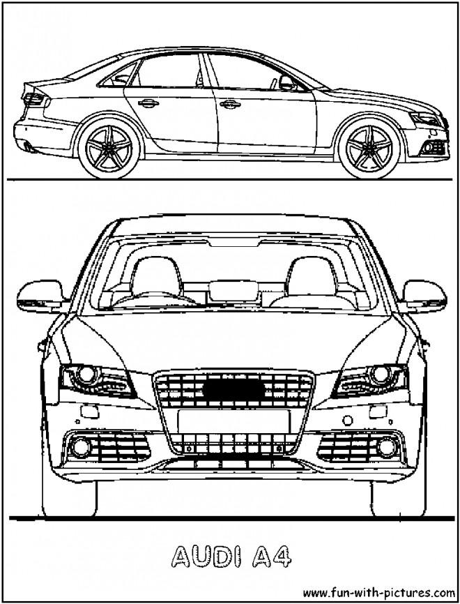Coloriage et dessins gratuits Audi A4 vue de face à imprimer