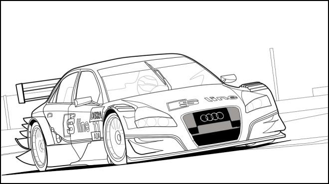 Coloriage et dessins gratuits Audi de course à télécharger à imprimer