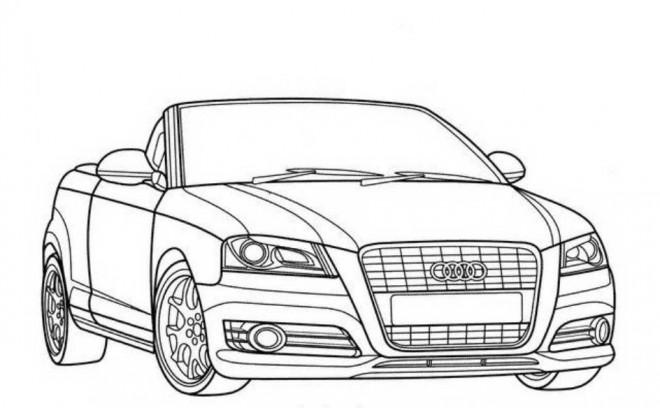 Coloriage et dessins gratuits Audi décapotable en noir et blanc à imprimer