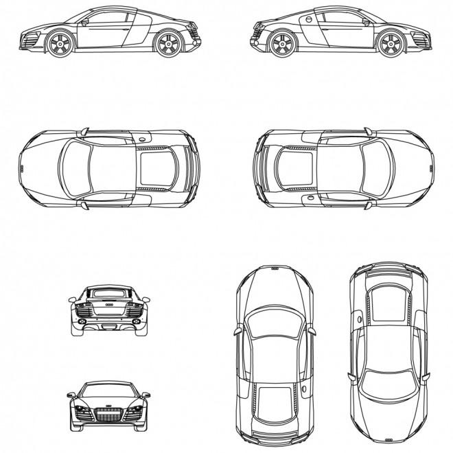 Coloriage et dessins gratuits Audi différents vues à imprimer