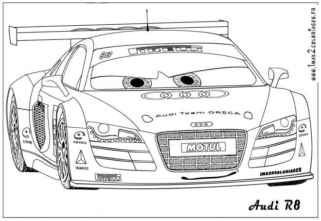 Coloriage et dessins gratuits Audi R8 de course à imprimer