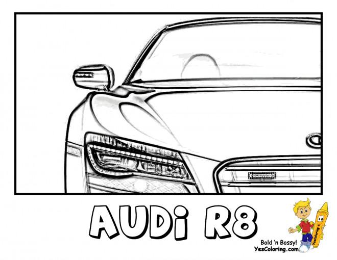 Coloriage et dessins gratuits Audi R8 vue de de face à imprimer