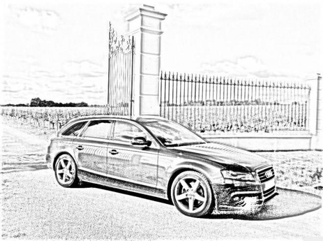 Coloriage et dessins gratuits Audi réaliste  en noir et blanc à imprimer