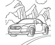 Coloriage et dessins gratuit Voiture Audi dans la Montagne à imprimer