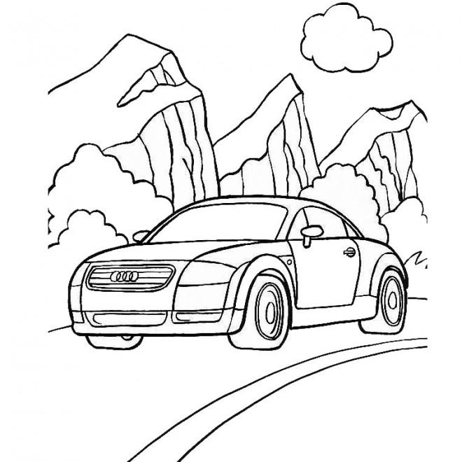 Coloriage et dessins gratuits Voiture Audi dans la Montagne à imprimer