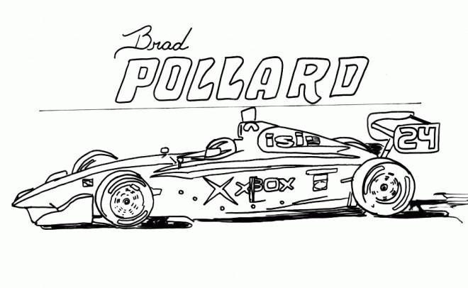 Coloriage et dessins gratuits Auto de course en noir et blanc à imprimer