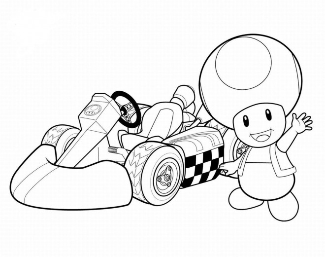 Coloriage et dessins gratuits Auto de course Mario Kart à imprimer