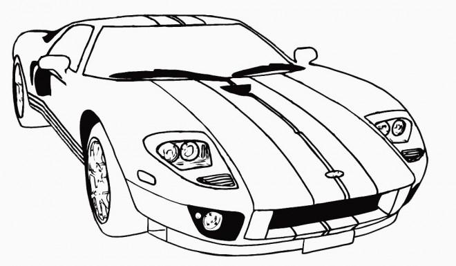 Coloriage et dessins gratuits Auto de course Mustang à imprimer