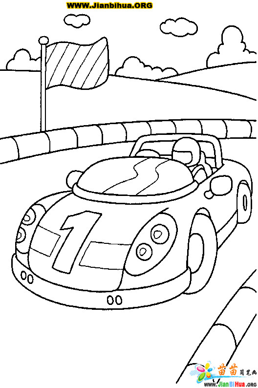 Coloriage et dessins gratuits Auto de course sur Le Parcours à imprimer