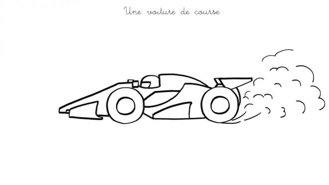Coloriage Une Voiture de course facile dessin gratuit à imprimer