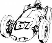 Coloriage et dessins gratuit vieille auto de course classique à imprimer