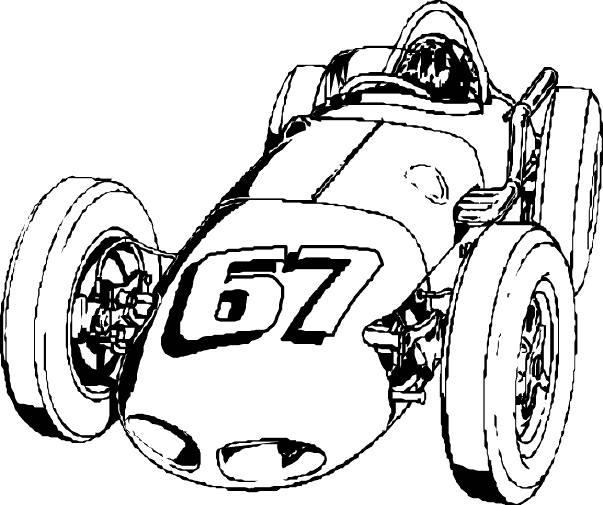 Coloriage et dessins gratuits vieille auto de course classique à imprimer