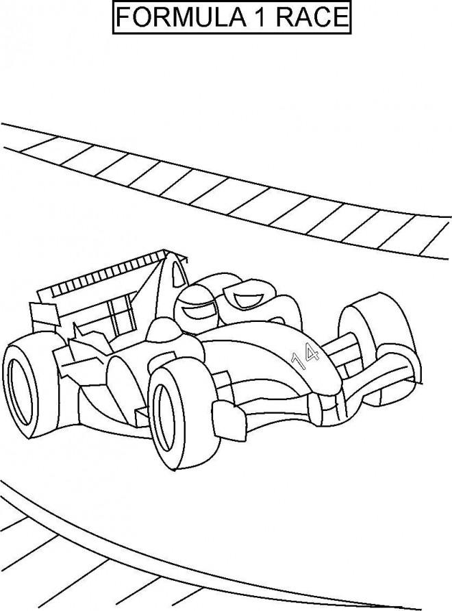 Coloriage et dessins gratuits Voiture Formule 1 en Course à imprimer