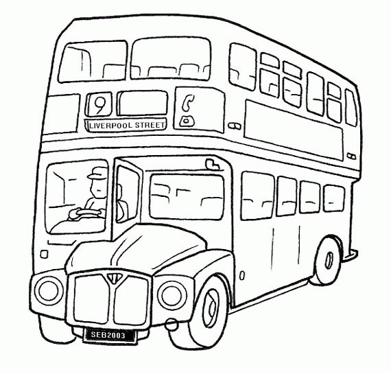 Coloriage Autobus à Deux étages Anglais