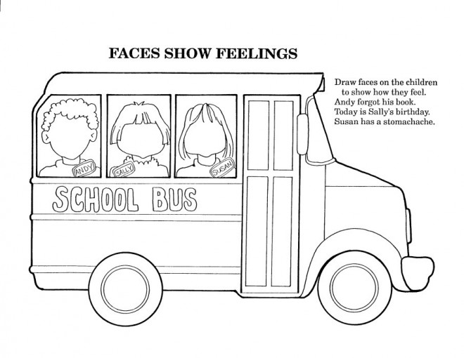 Coloriage et dessins gratuits Autobus et visages à colorier à imprimer