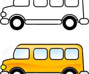 Coloriage et dessins gratuit Autobus facile en jaune à imprimer