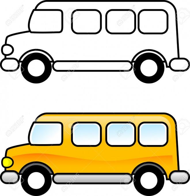 Coloriage et dessins gratuits Autobus facile en jaune à imprimer