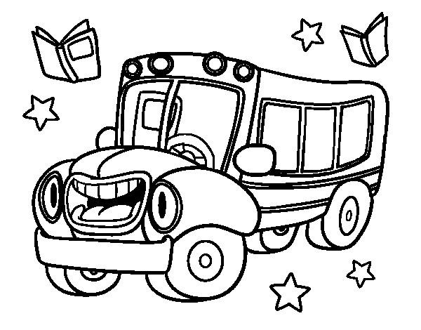 Coloriage et dessins gratuits Autobus qui rigole à imprimer