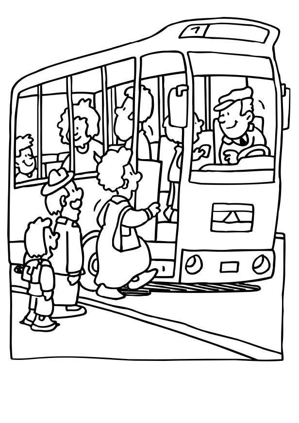 Coloriage et dessins gratuits Autobus s'ouvre pour les passagers à imprimer