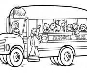 Coloriage et dessins gratuit Autobus scolaire avec chauffeur à imprimer