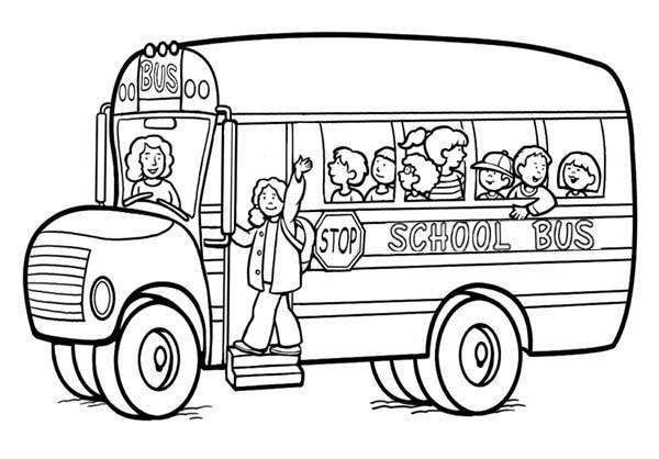 Coloriage autobus scolaire avec chauffeur dessin gratuit - Autobus scolaire dessin ...
