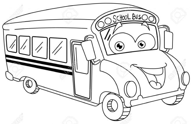 Coloriage Autobus Scolaire En Bon Humeur Dessin Gratuit à