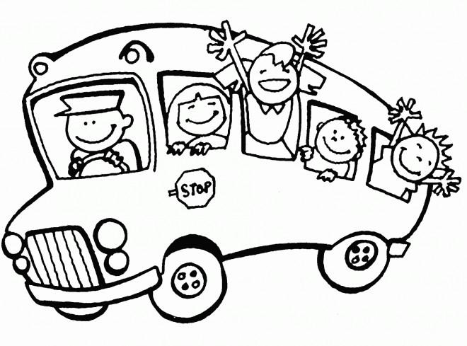 Coloriage autobus scolaire pour enfant dessin gratuit imprimer - Dessin de transport ...