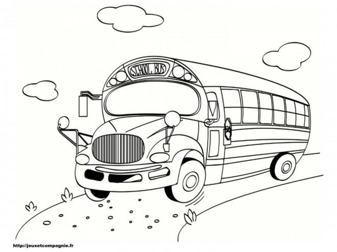 Coloriage autobus scolaire sur la route dessin gratuit - Autobus scolaire dessin ...