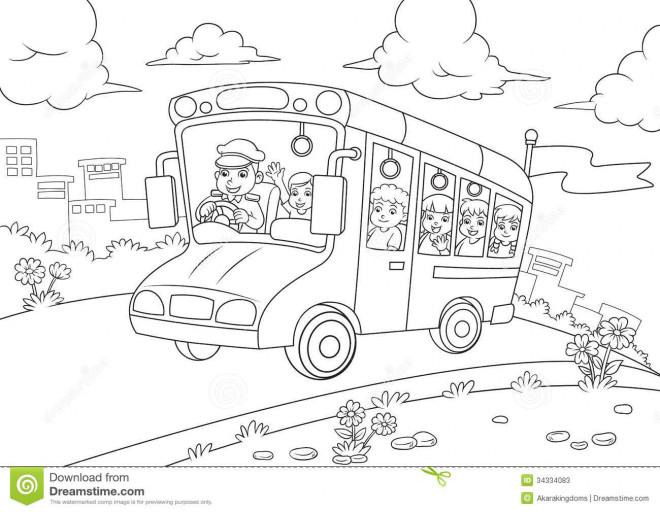 Coloriage et dessins gratuits Bus maternelle à imprimer