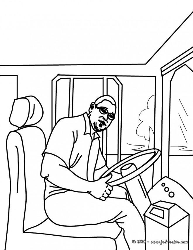 Coloriage et dessins gratuits Chauffeur de Bus en couleur à imprimer