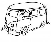 Coloriage Fille souriante dans L'Autobus