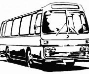 Coloriage et dessins gratuit Bus en noir et blanc à imprimer
