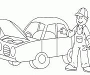Coloriage et dessins gratuit Automobile au garage de mécanicien à imprimer