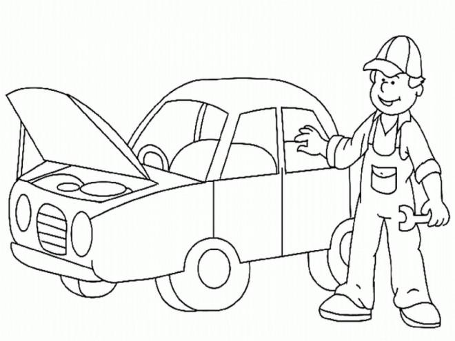 Coloriage et dessins gratuits Automobile au garage de mécanicien à imprimer