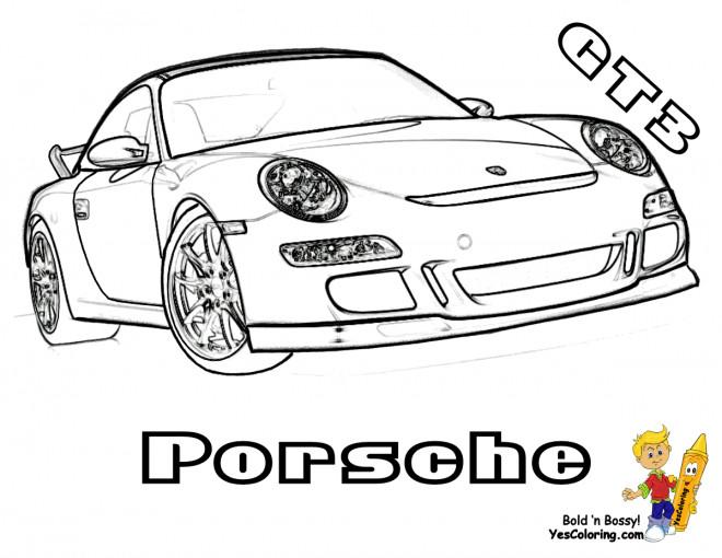 Coloriage et dessins gratuits Automobile Porsche GT3 à imprimer
